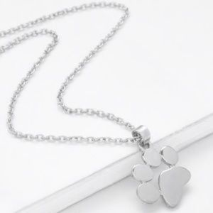 NEW Dog Cat Paw Print Charm Necklace Silver Tone